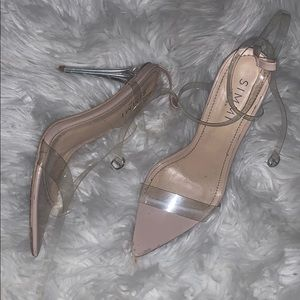 Simmi shoes strappy nude pvc clear heels